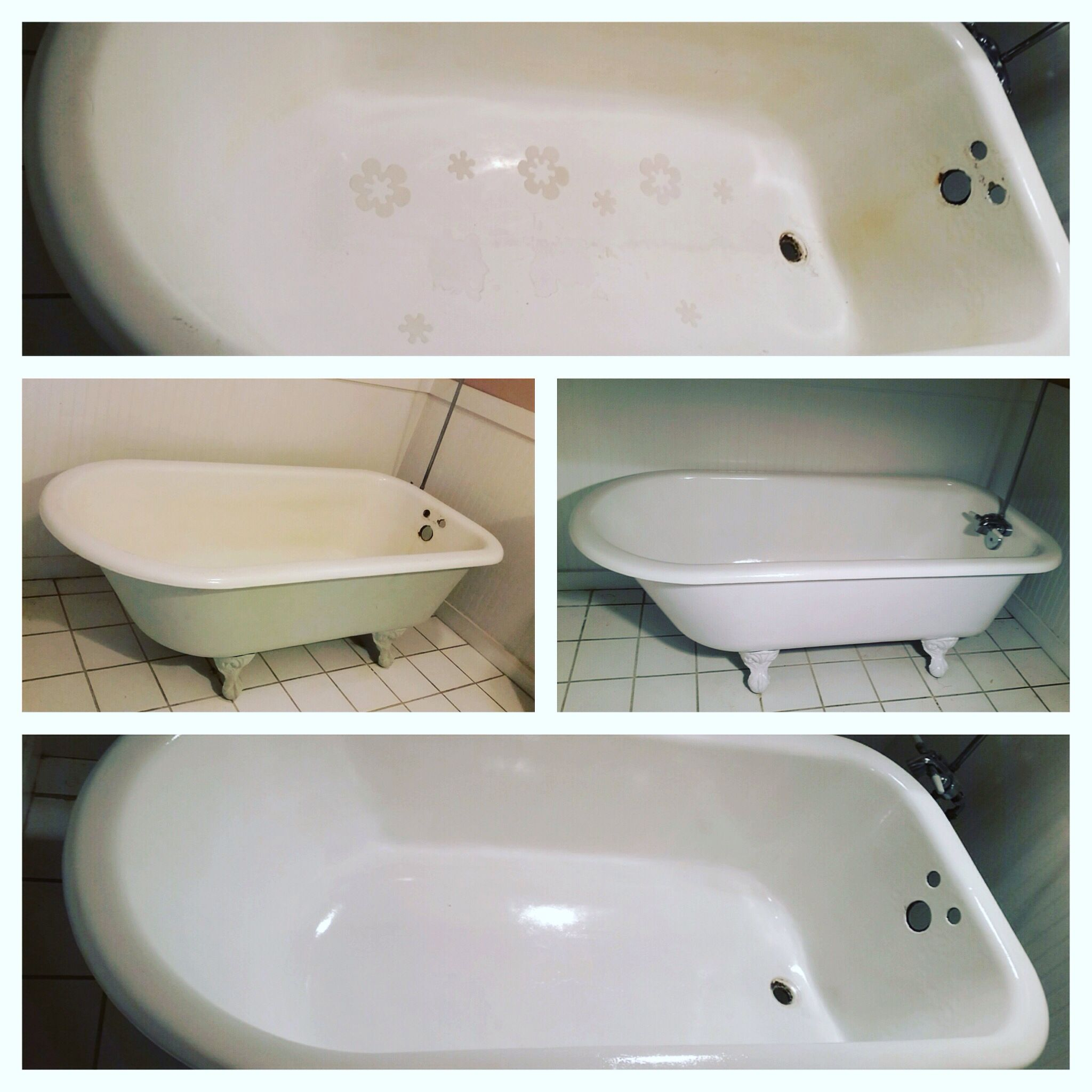 Using Aquafinish Glaze And Epoxy Paint I Was Able To Restore An Old Claw Foot Tub With Images Clawfoot Tub Free Standing Bath Tub Bath Makeover