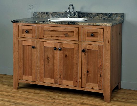 Shaker Style Bathroom Vanity Cabinet Dimensions 48 Wide 21 Deep 33 5 High Exterior Rustic Cherry Solids And Veneers Interior 3 4 Lacquered