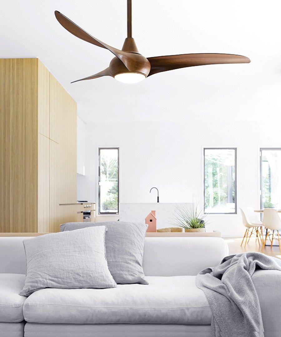 Wave 132cm Fan With Led Light In Dark Koa Wood Ceiling