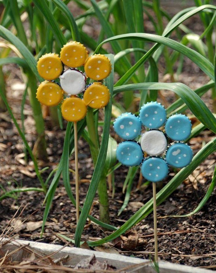 basteln mit kindern gemusegarten bild, blumenstecker basteln mit kindern flaschendeckel-metall-kleben, Design ideen