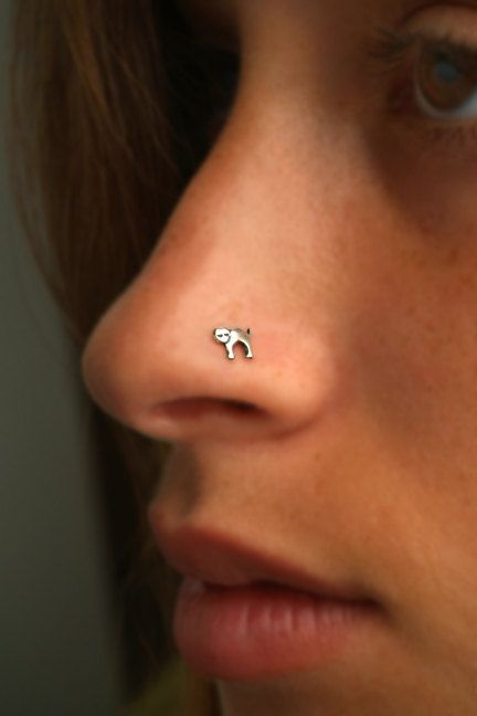 Cat Nose Stud Nose Ring Sterling Silver Choose Your Gauge And Hook Type Gauge Nose Ring Nose Stud L Shaped Nose Ring
