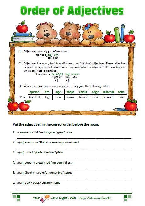 Worksheets Order Of Adjectives Worksheet 1000 images about grammar ordering adjectives on pinterest in english student centered resources and pictures of