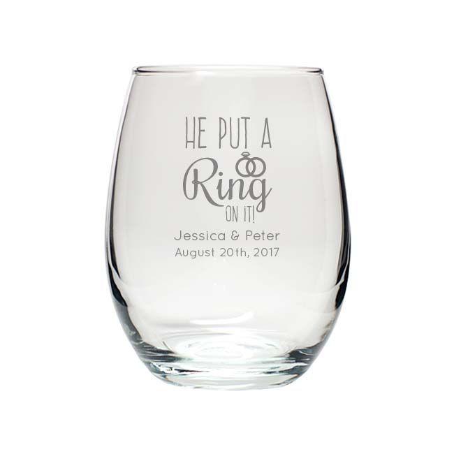 Engraved 9oz Stemless Wine Glass Wedding Favors Wedding Favors