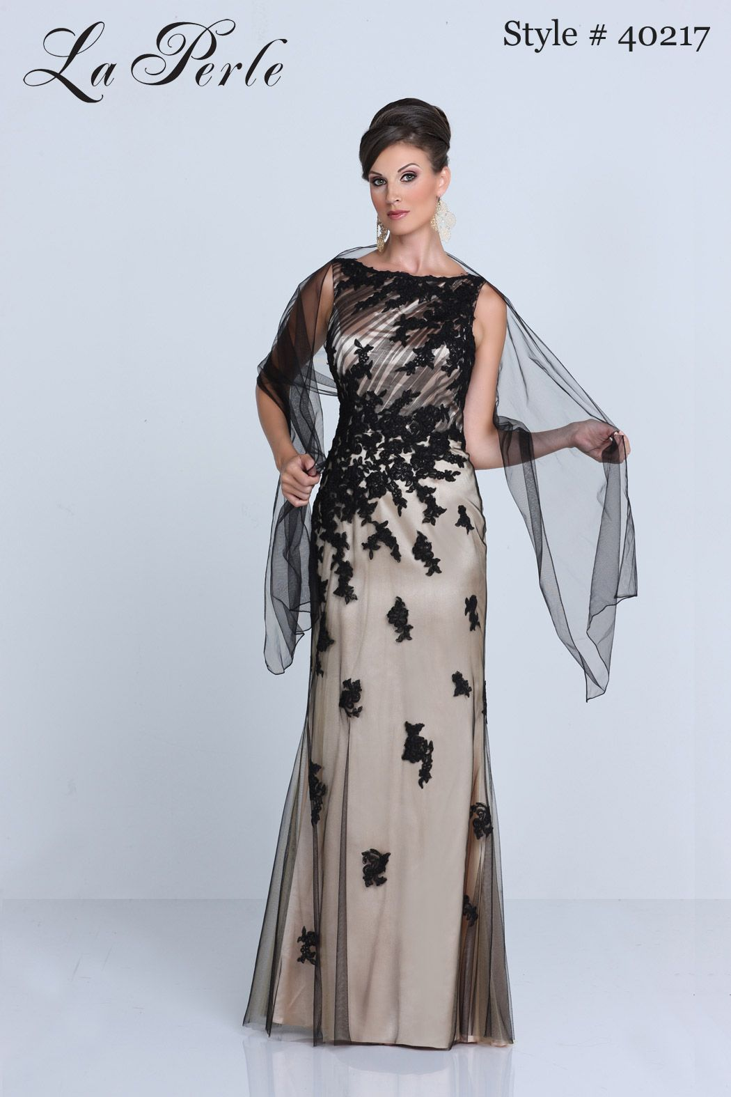 La Perle style # 40217 ~ dress with shawl for mother of the bride ...