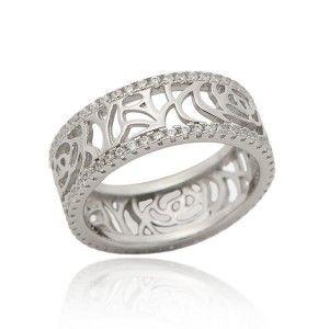 Pierścionek srebrny ażurowy z mikrocyrkonią