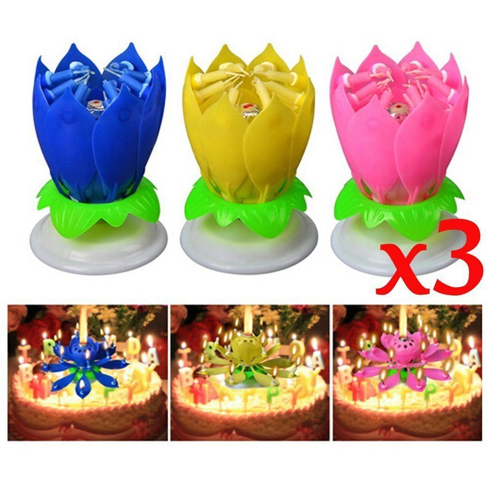 Musical Birthday Candle Blue with Numbers set of 3