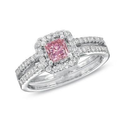 Princess Cut Pink White Diamond Engagement Ring