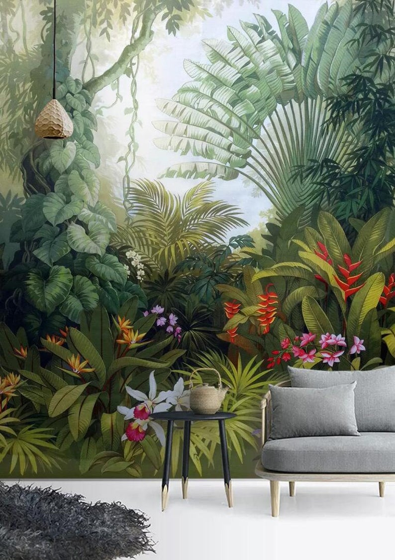 3D Tropical rainforest, Lush vegetation, Palm leaves Wallpaper, Removable Self Adhesive Wallpaper, Wall Mural,Vintage art,Peel and Stick Garden