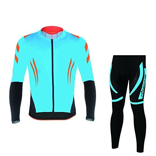 PANDOOM Mens Long Sleeve Fleece Thermal Cycling Jersey And Fleece Thermal Padded Pants Set Bike Shirts Quick Dry Pro Team Cycling Jacket for Outdoor Sports L -- You can find out more details at the link of the image.