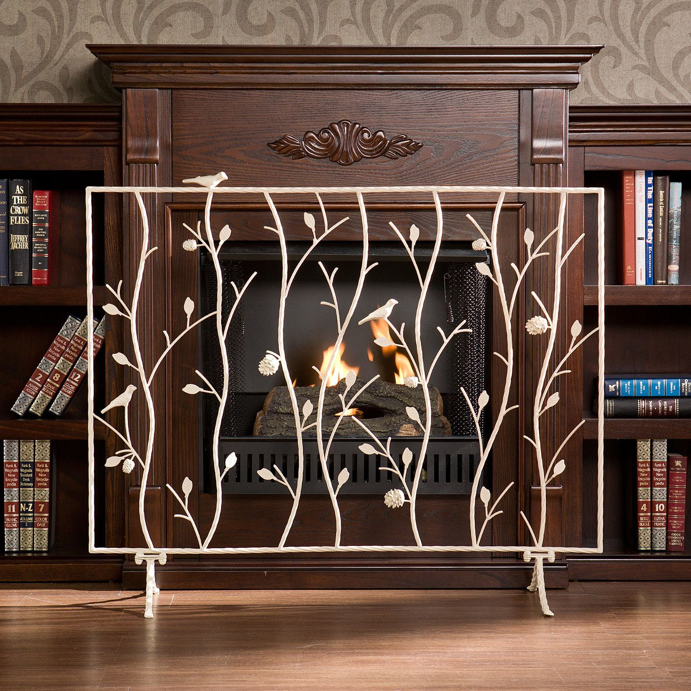 wildon home a bluewood bird and branch metal fireplace screen