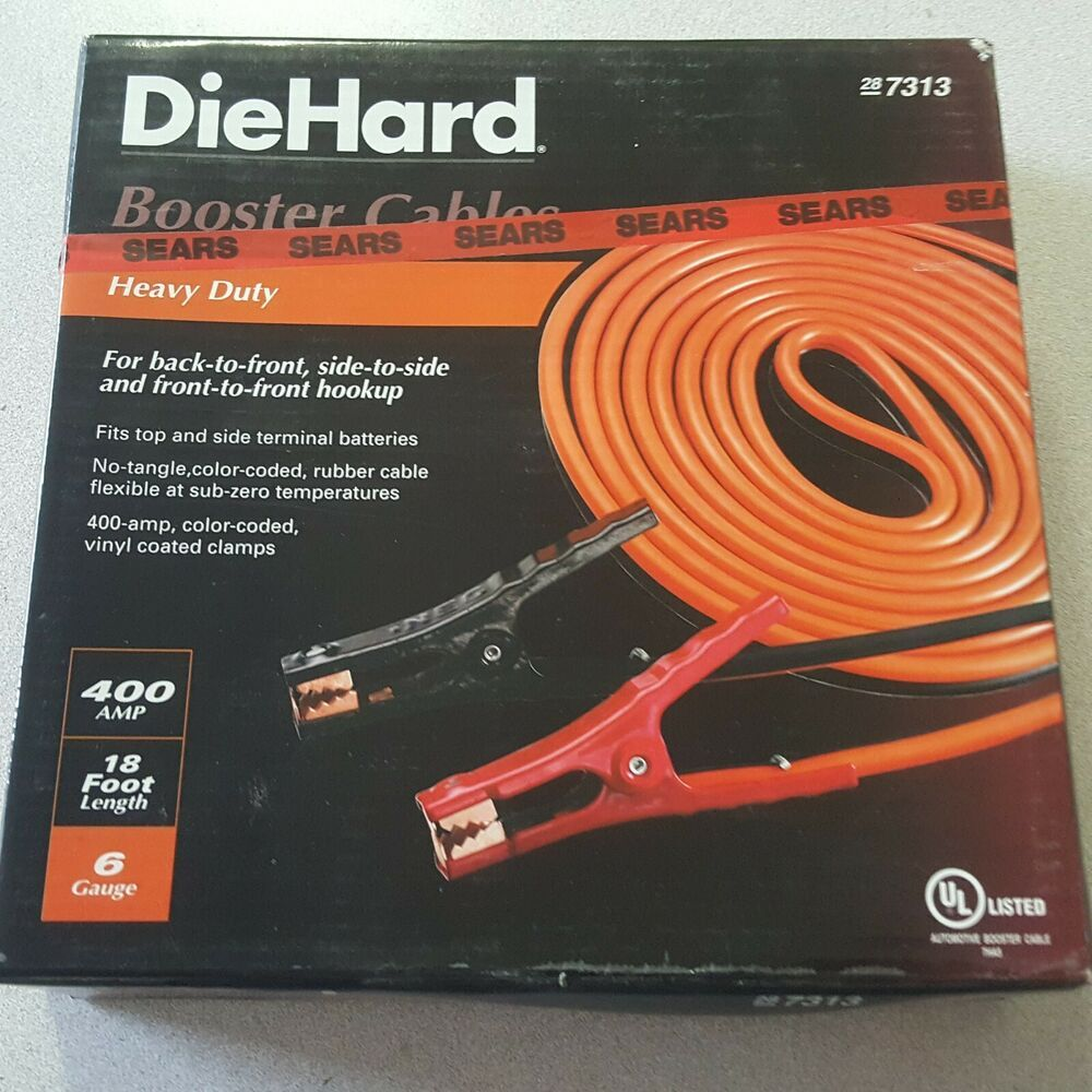 Diehard Car Battery Charge Red Black Booster Jumper Cable 18ft 6 Gauge 400amp Diehard Jumper Cables Car Battery Boosters