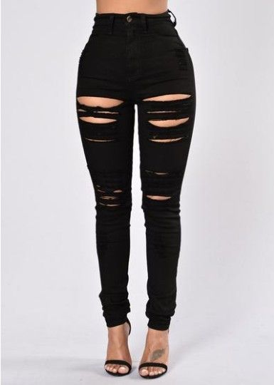 cde4a0d91d362 High Waist Pure Color Rips Slim Long Jeans Torn Jeans, Black Jeans With  Holes,