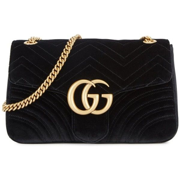 9d62c4b5f458 GUCCI GG Marmont Black Velvet Shoulder Bag ( 1