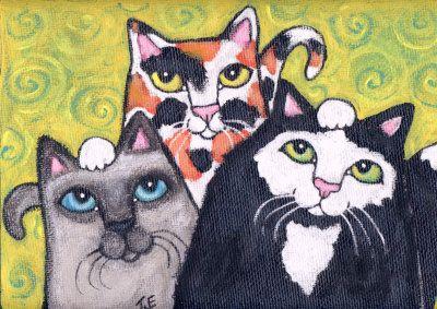 three cat pose painting at artistrising  cat pose