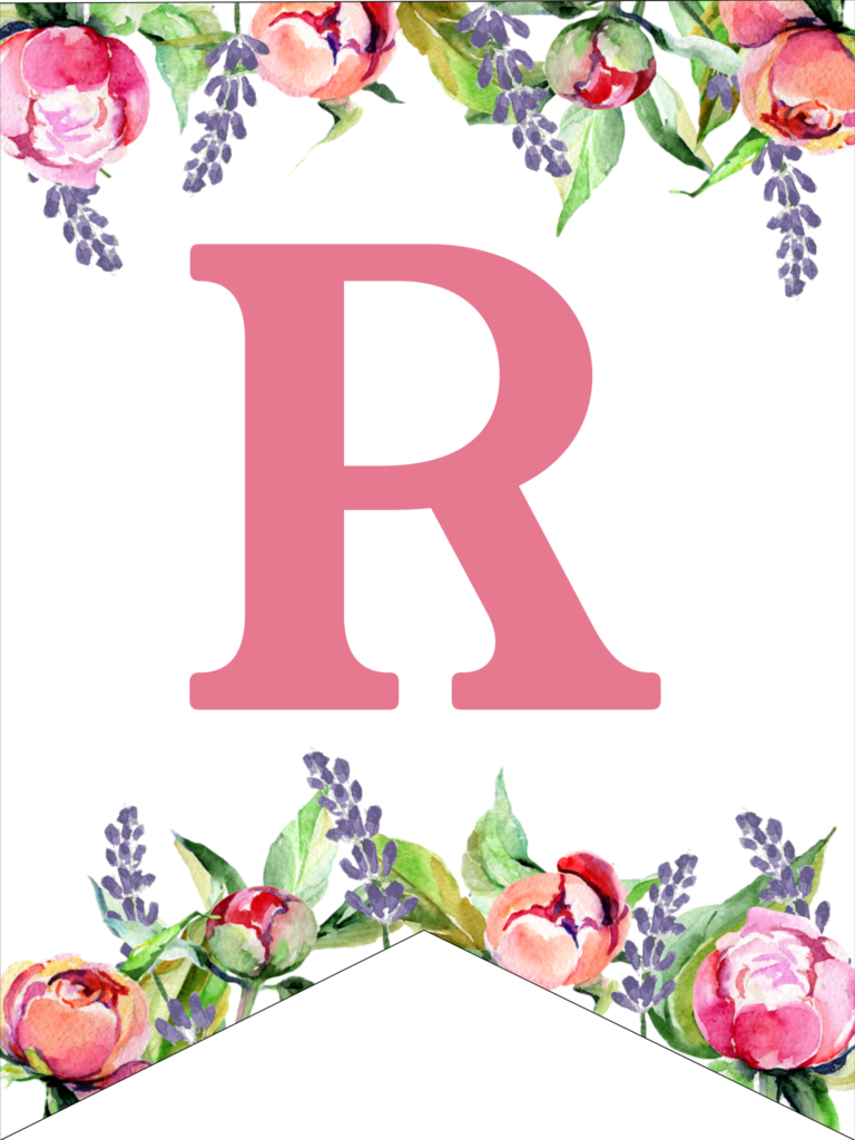 FloralBanner2R Free printable alphabet letters