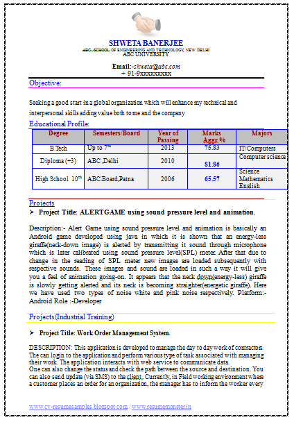 example template of fresher it engineer resume sample with great career objective and project