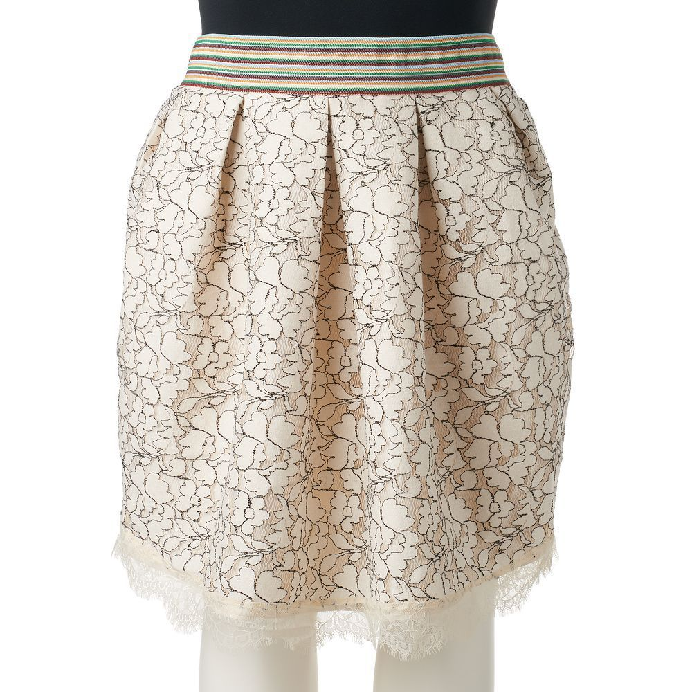 Juniors' Plus Size HeartSoul Pleated Lace Skater Skirt, Teens, Size: 3XL, Natural