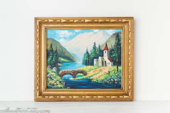Vintage 8x10 Painting with Gold Frame Landscape Painting | Vintage ...