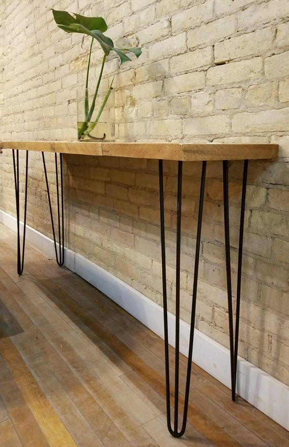 Mesa de madera reciclada tabla de consola o mesa de sofá