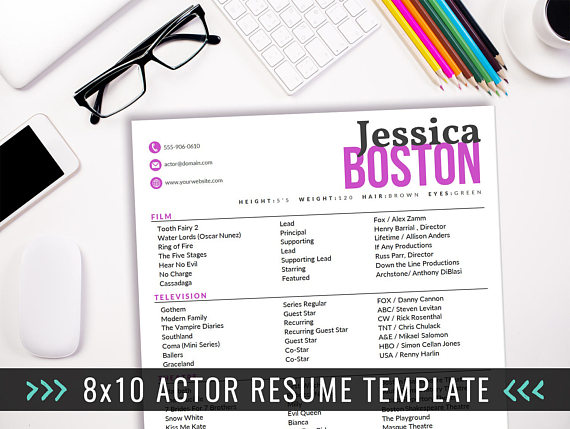 8X10 Resume Paper Fair Actor Resume Template  8 X 10 Acting Resume  Instant Digital .