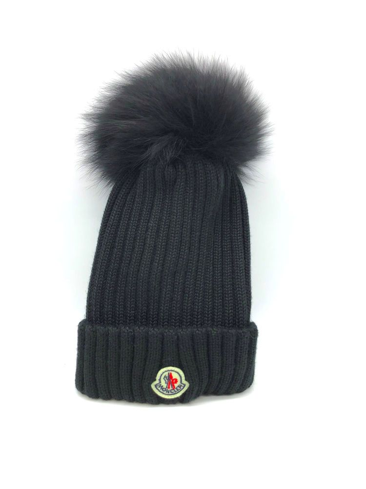 302b51a5934 NEW MONCLER RIBBED KNIT BEANIE HAT W FUR POMPOM COLOR BLACK  fashion   clothing