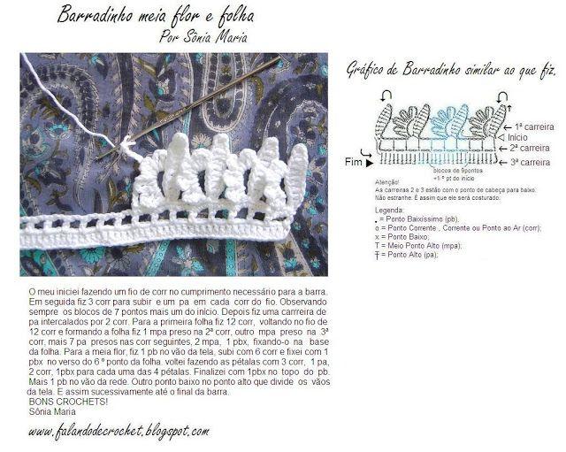"""""""SPEAKING OF CROCHET"""": BAR CROCHE LEAF AND FLOWER WHITE"""