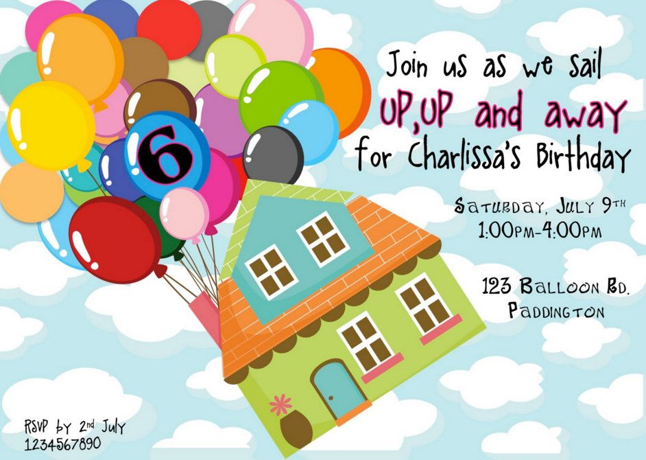 Up Themed Birthday Party Invitations Disney Theme