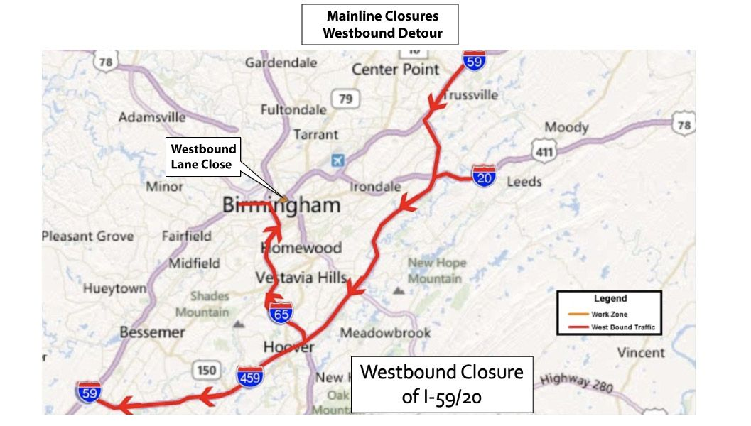 DETOUR ROUTES – ALDOT 5920 Bridge Project