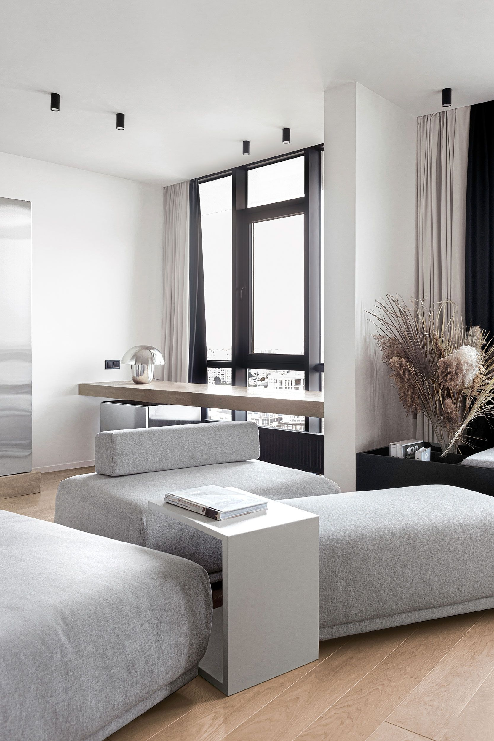 Simplicity and functionalism were the two main wishes of the client for this Hehuezska apartment. Our task was to use a minimum of decor and different types of finishing materials, making the apartment the most convenient for the client's lifestyle. #apartments #apartmentdesign #modernspaces