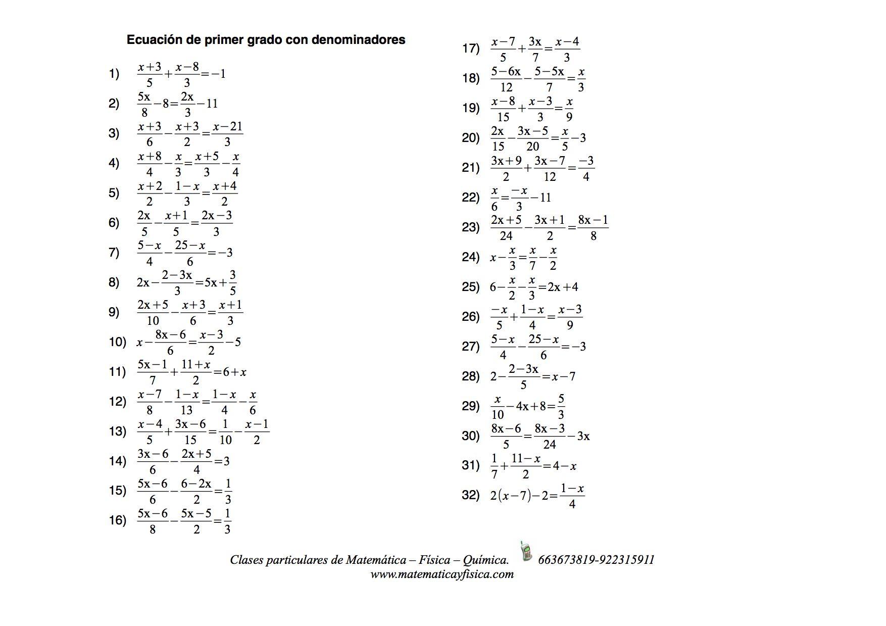 Ejercicios Propuestos De Ecuaciones De Primer Grado Con Denominadores 9th Grade Math Math Worksheets Worksheets