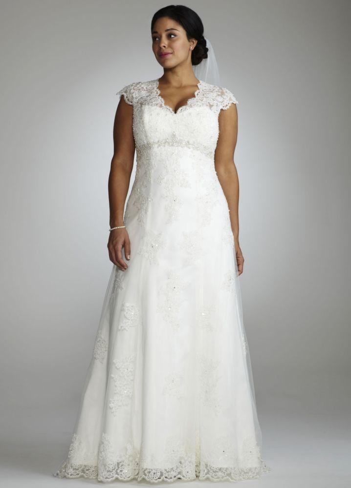 ee9d35600c4 Sample  Cap Sleeve Lace Over Satin Wedding Dress with Illusion Davids Bridal  Plus Size