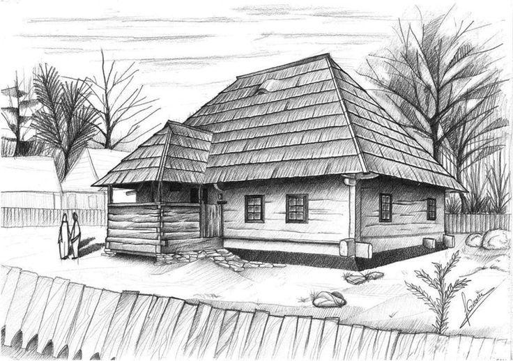 где спрятаны рисунок пейзаж домов карандашом фото всего, это