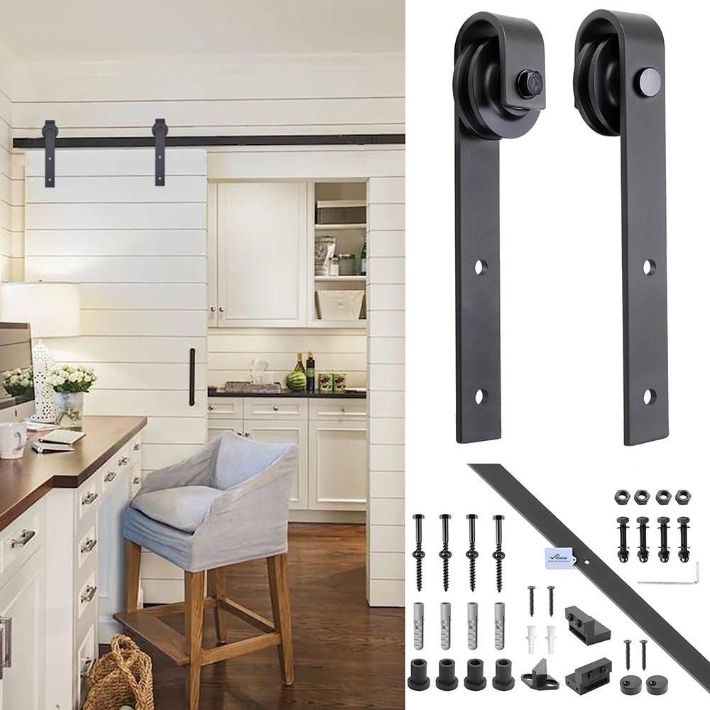 6ft Sliding Barn Door Hardware Track Set I Style Kitchen Cabinet