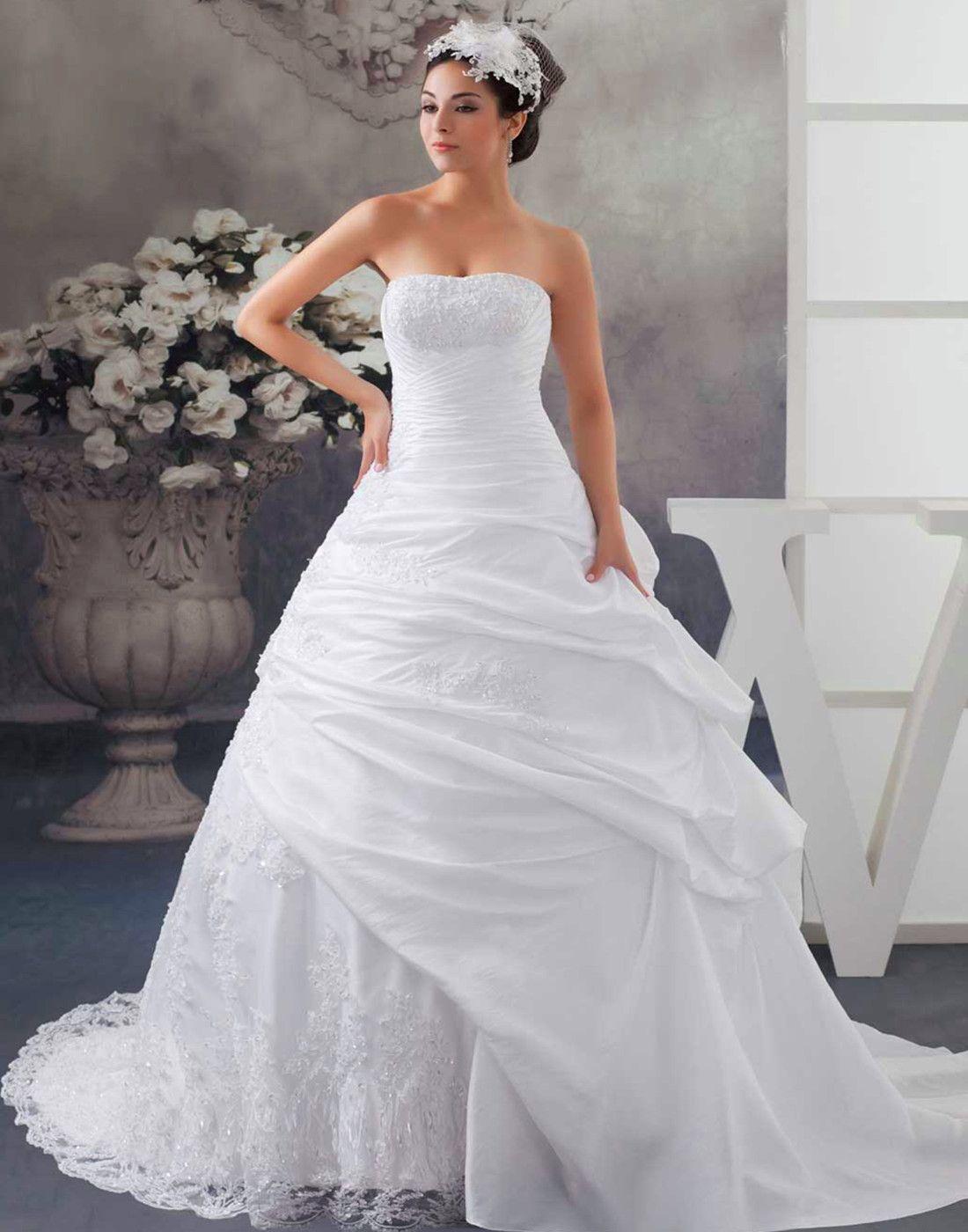 Court Train Pongee Natural Waist Appliques Lace Wedding