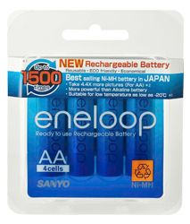 Sanyo Eneloop AA rechargables are the choice batteries for your devices compared to Alkaline batteries because they can be reused and more importantly, they do not leak fluids that corrode and destroy your devices if unattended for long periods of time.  These have proven to be reliable in holding charge and delivering power. These Low-Self Discharge (LSD) cells are perfect for leaving in no-drain devices until the time you need it.