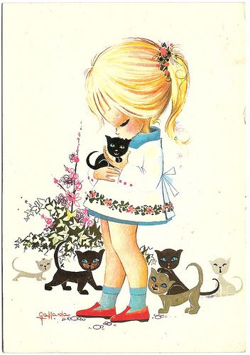 70 s girl with kittens postcard