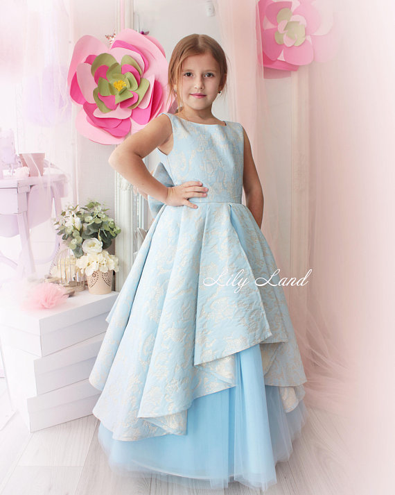 6f56881ee Gorgeous baby dress Blush Blue and Gold Flower Girl Dress Blush Blue and  Gold Tulle Lace Dress Pagea