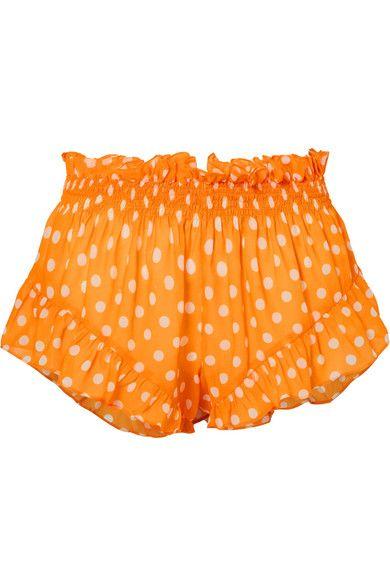 Caroline Constas - Ruffled polka-dot chiffon shorts
