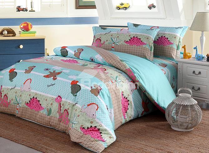 Best Bright Lovely Dinosaur Pattern Pure Cotton 4 Piece Duvet 400 x 300