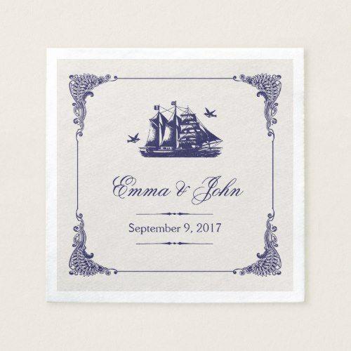 Luxury Navy and Ivory Vintage Ship Wedding Monogram Napkin For Your Home - Latest navy napkins Trending