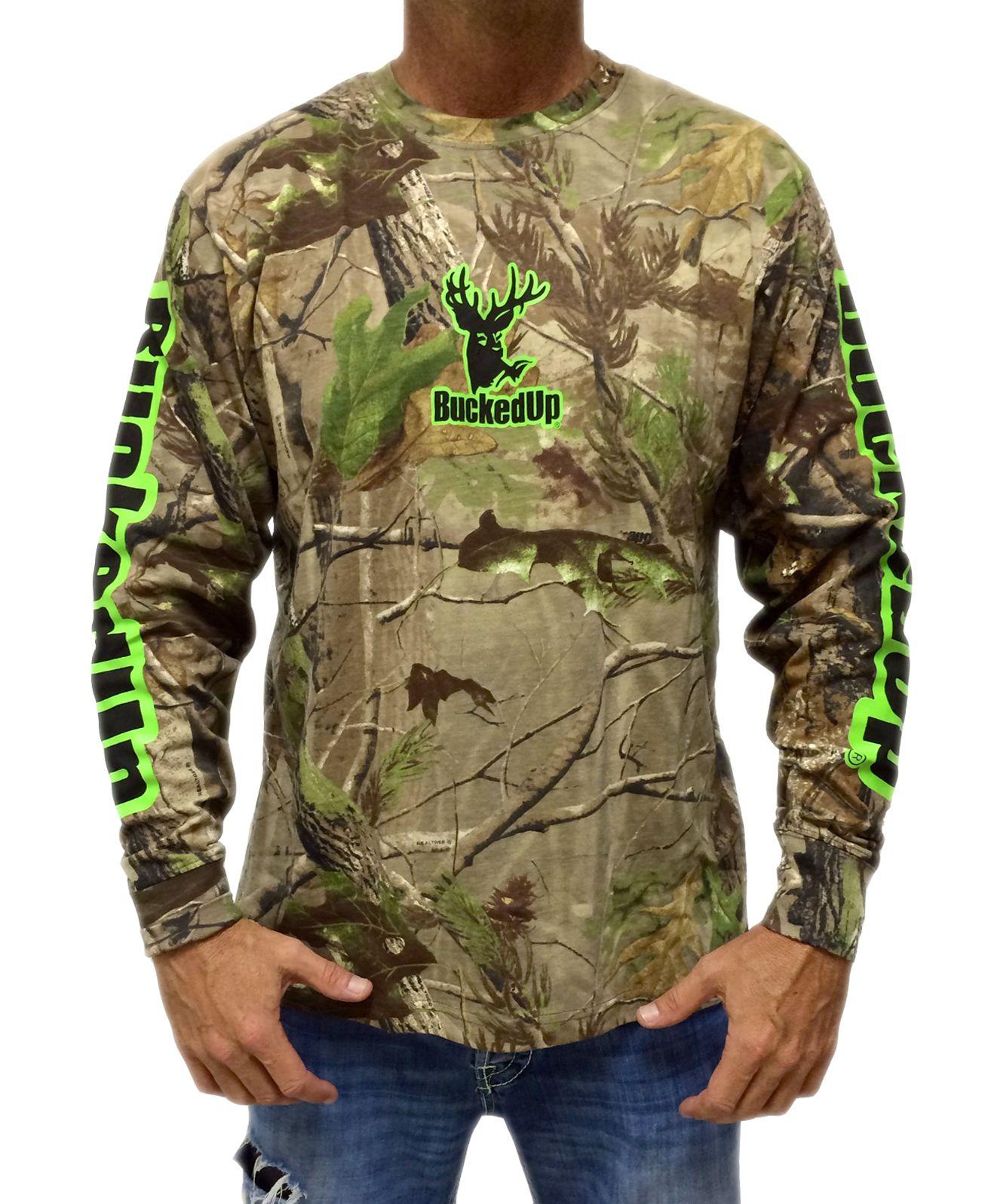 long sleeve realtree apg camo with classic buckedup logo green
