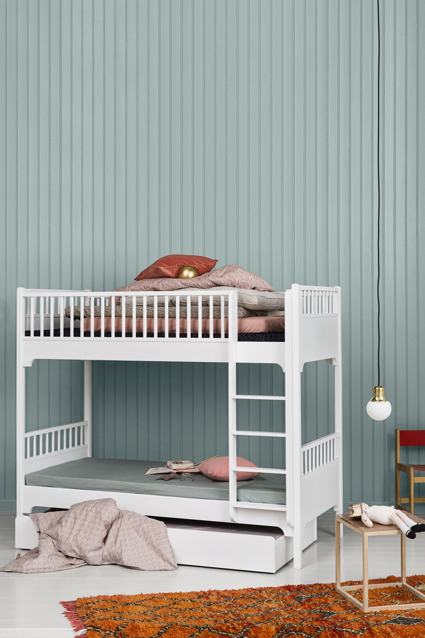 seaside bunk bed with vertical ladder and bed drawer by oliver