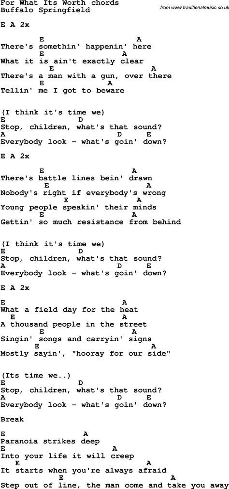 Song Lyrics with guitar chords for For What Its Worth   Music is The ...