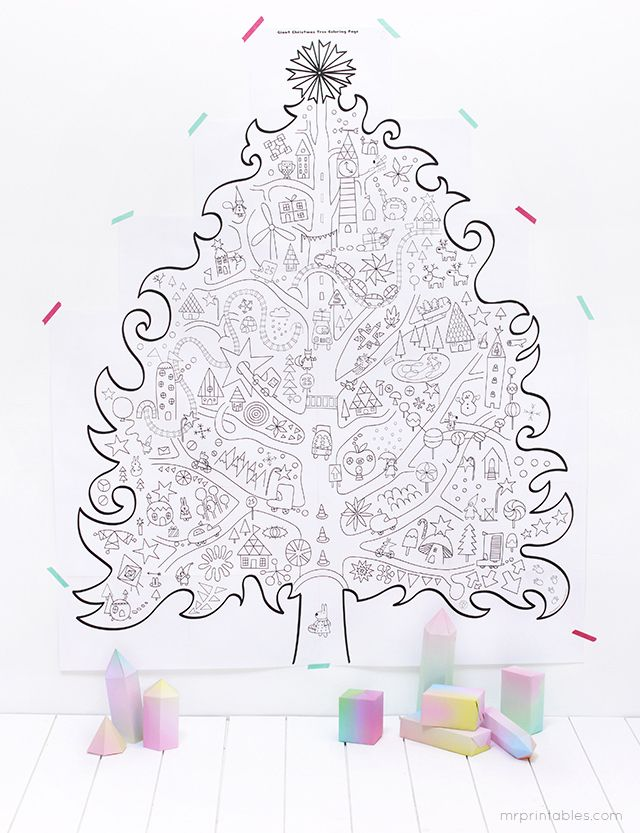 Free Printable Giant Christmas Tree Coloring Pages Gratis Een Mege