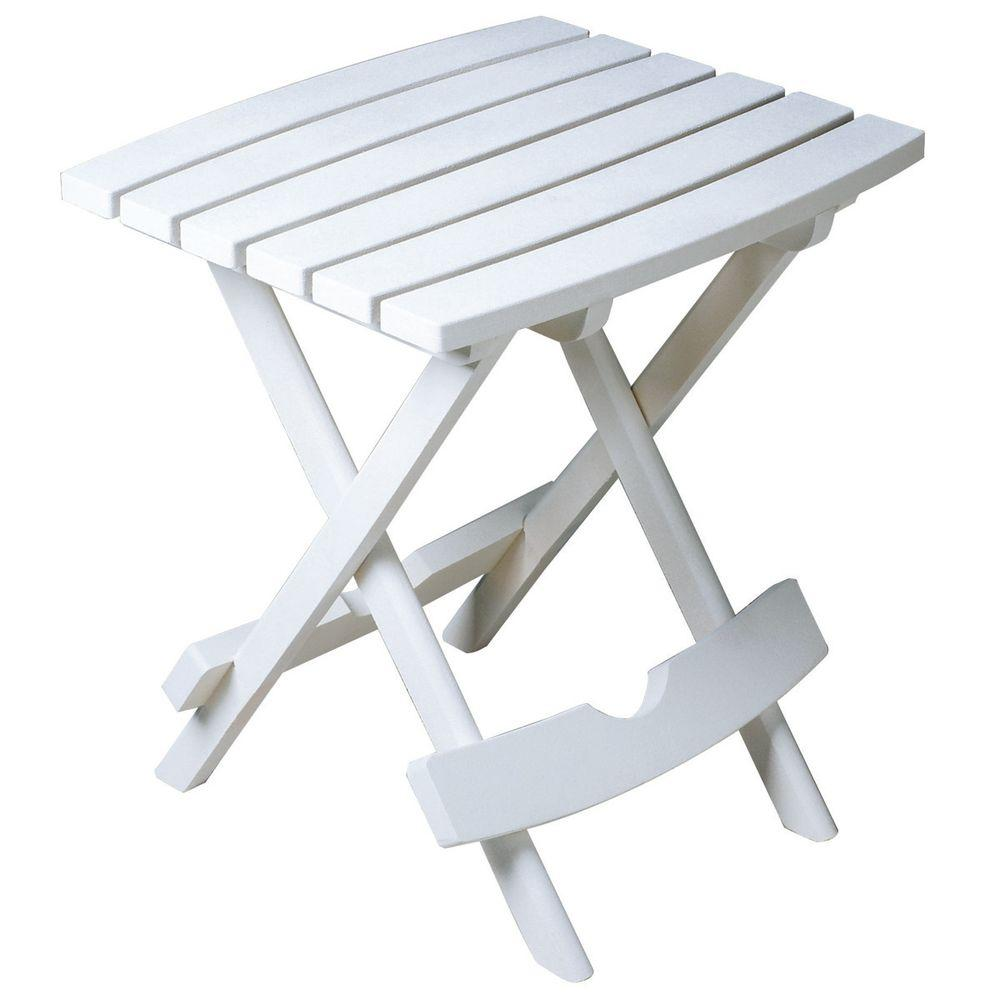 Adams Manufacturing Quik Fold White Resin Plastic Outdoor Side Table 8500 48 3700 The Home Depot Patio Side Table Outdoor Side Table White Side Tables