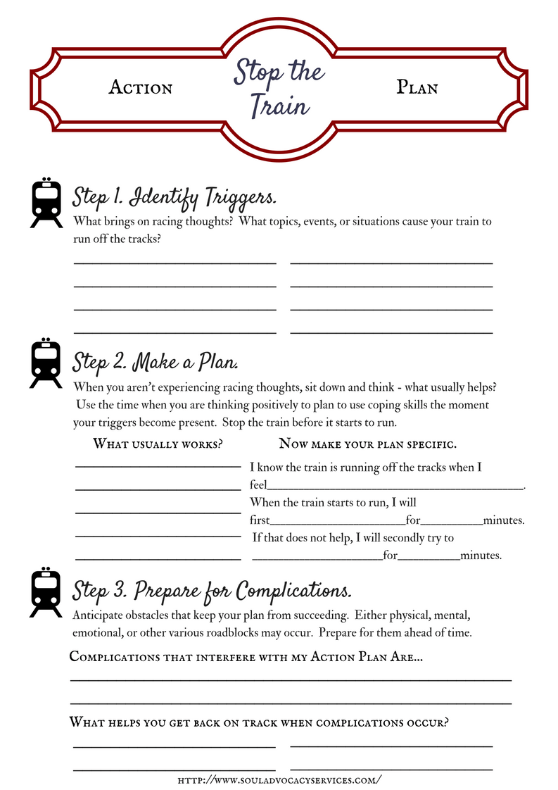 Worksheets Anxiety Worksheets stop the train action plan 2 psycho edu pinterest stress management worksheets infographic description techniques stress
