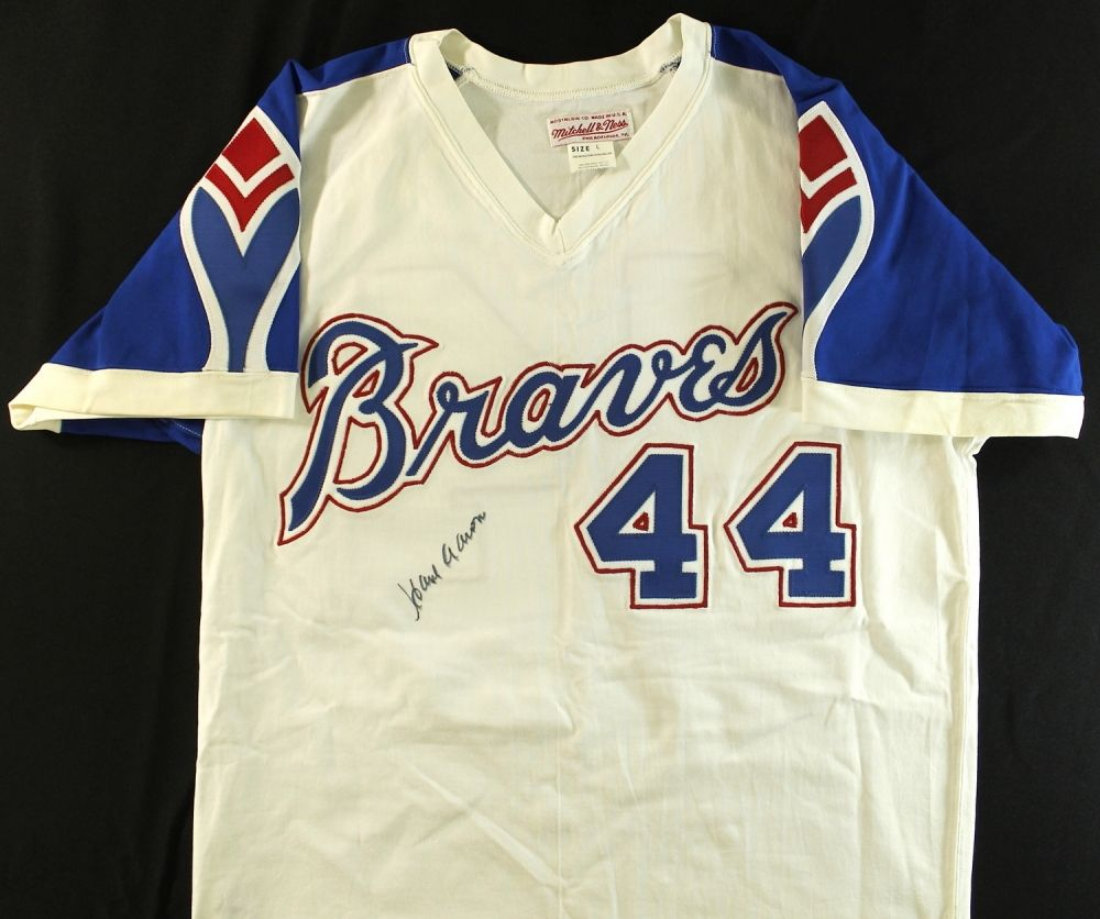 Hank Aaron Signed Braves Authentic Mitchell Ness Throwback Jersey Jsa Aloa Jsa Mitchell Ness Braves