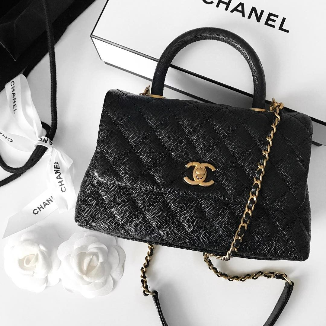 5ad4d5d9a2d9 Chanel Coco Grained Calfskin Flap Bag with Lizard Handle A92991 in Balck.  Save Up To