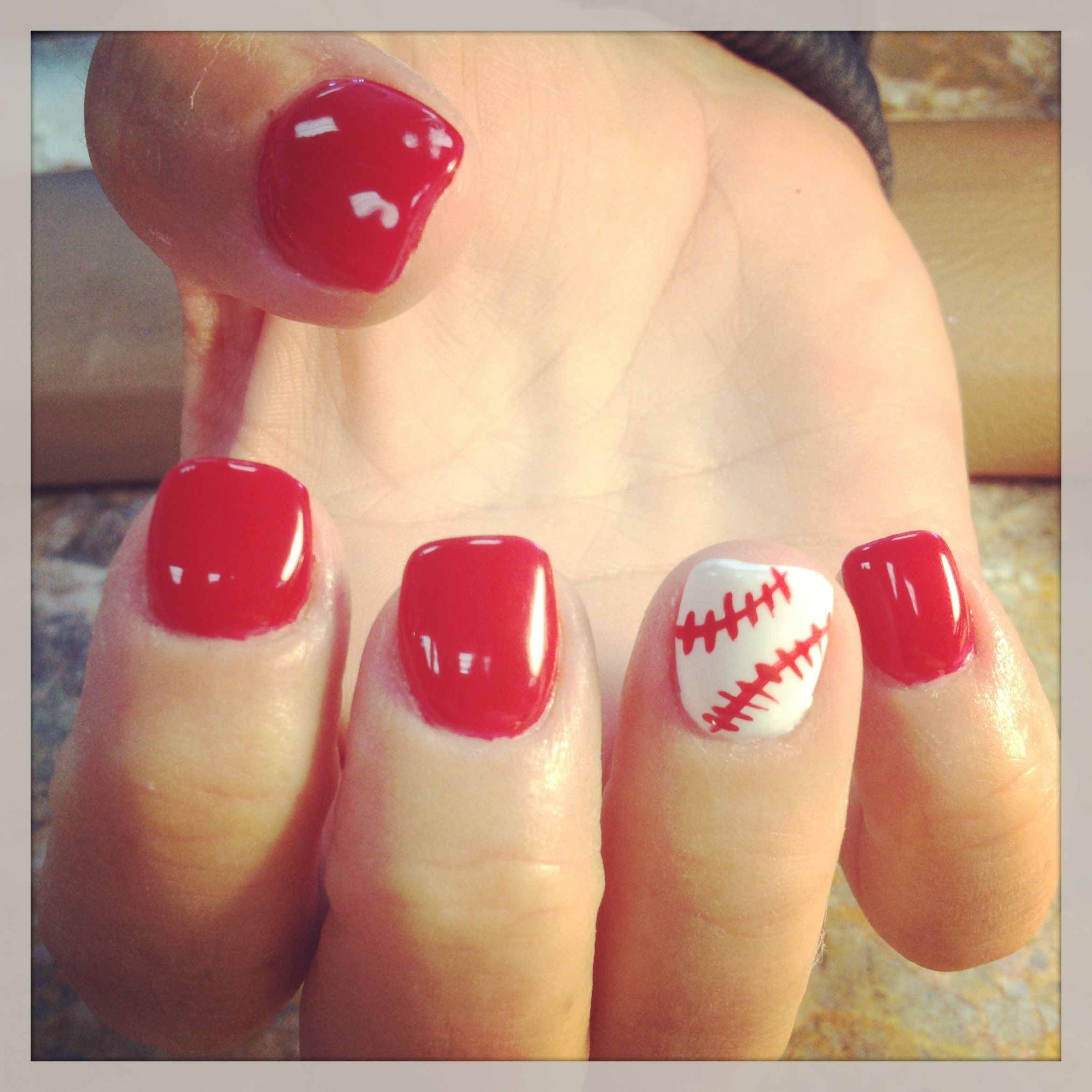 Baseball Nails Done them on my mom Clothes i want