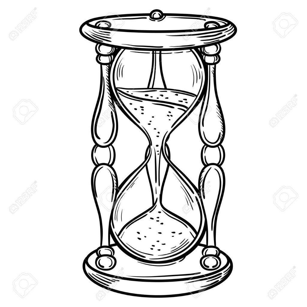 Reloj De Arena Para Colorear Reloj De Arena Tatuaje Reloj De